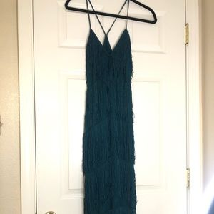 Green fringe dress potiental great gatsby costume!
